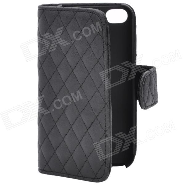 Protective PU Leather Cover Flip-Open Hard Case with Card Slot for Iphone 4 / 4S - Black protective pu leather flip open case for iphone 4 4s black