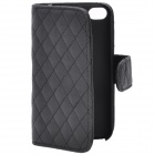 Protective PU Leather Cover Flip-Open Hard Case with Card Slot for Iphone 4 / 4S - Black