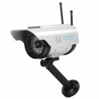 Solar Power Waterproof Dummy Realistic Surveillance Security Camera w/ Red Flash Light - Silver