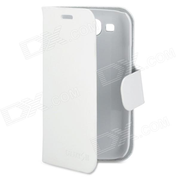 Protective PU Leather Flip-Open Case w/ Magnetic Button for Samsung Galaxy S III i9300 - White