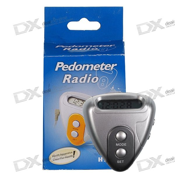 3-in-1 Digital Pedometer + Digital FM Radio + Clock