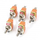 2-Pin Toggle On / Off Switch - Silver (AC 250V / 15A / 5 PCS)