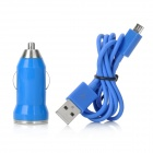 V8 Car Cigarette Powered Charging Adapter w/ USB Cable for HTC / Samsung / Motorola - Blue
