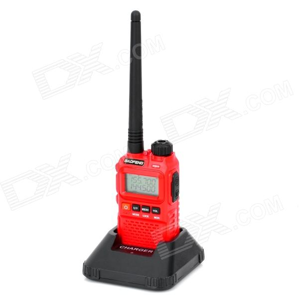 Baofeng BF-UV3R+ 1.3 LCD 3W 136~174MHz / 400~470MHz Dual Band Multifunctional Walkie Talkie - Red
