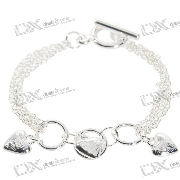 925 Sterling Silver Hearts Bracelet (17cm) sterling silver ear thread