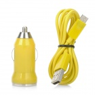V8 Car Cigarette Powered Charging Adapter w/ USB Cable for HTC / Samsung / Motorola - Yellow