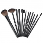 Professional Cosmetic Makeup Brushes Set - Black (12 PCS)