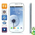 "i9300 Android 4.0 WCDMA Barphone w/ 4.8"" Capacitive Screen, GPS, Wi-Fi and Dual-SIM - White"
