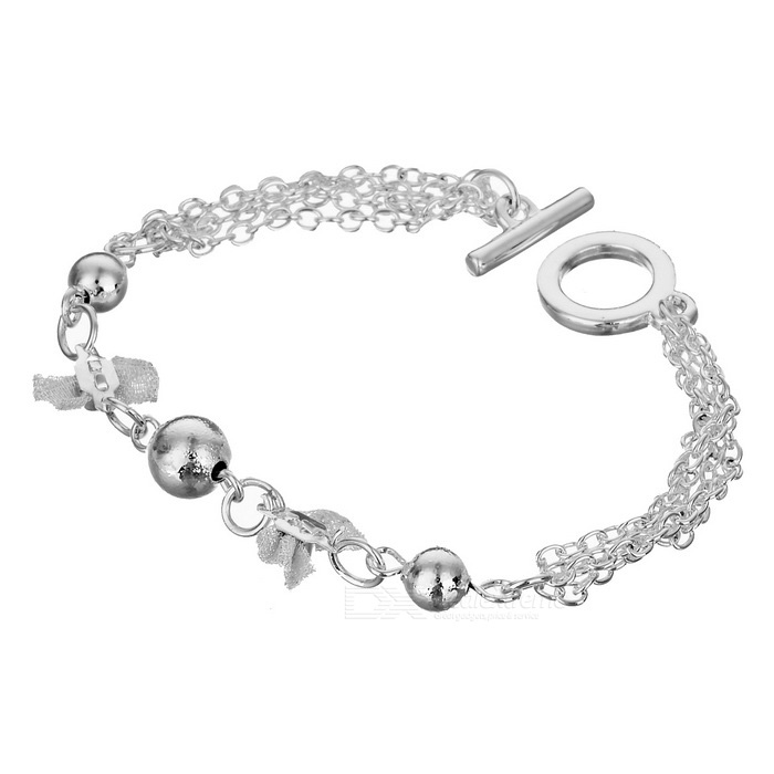925 Sterling Silver Bowknot Bracelet (18.8cm) sterling silver ear thread