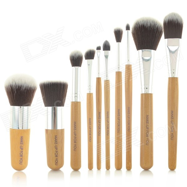 Professional Bamboo Handle Cosmetic Makeup Brushes Set - Brown (10-Piece) 2016 new spring autumn breathable casual shoes for men british style fashion men flat shoes blade mens trainers zapatos hombre