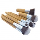 Professional Bamboo Handle Cosmetic Makeup Brushes Set - Brown (10-Piece)