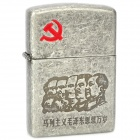 Communist Leaders Pattern Zinc Alloy Cotton Oil Lighter - Antique Silver