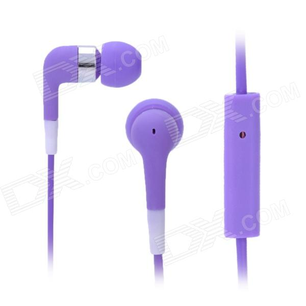 Stylish In-Ear Earphone w/ Microphone for Iphone 3g / 3GS / 4 / 4S / Ipod / Ipad - Purple 3 5mm headphone headset adapter with microphone for iphone 3g 3gs 4 white 70cm cable