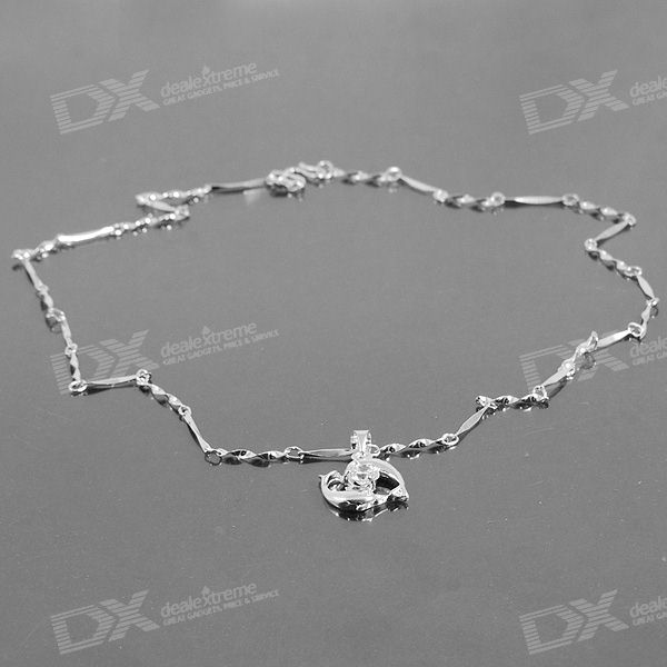 925 Silver Plated Necklace with Crystal Dolphin Pendant (42cm)