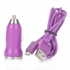 Cigarrillo v8 coche accionado cargador con adaptador w / Cable USB para HTC / Samsung / Motorola - Purple