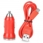 V8 Car Cigarette Powered Charging Adapter w/ USB Cable for HTC / Samsung / Motorola - Red