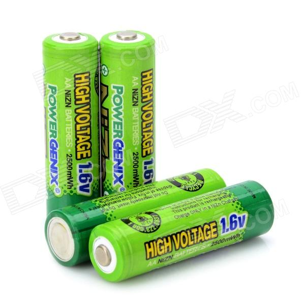 POWERGENIX Rechargeable 4 x 1.6V 2500mWh AA NiZn Batteries - Green free shipping 4pcs aa nizn 1 6v 2500mwh high voltage rechargeable battery hot sale 3 5 hour fast charger