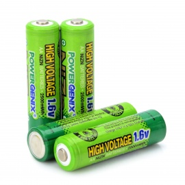POWERGENIX Rechargeable 4 * 1.6V 2500mWh AA NiZn Batteries - Green