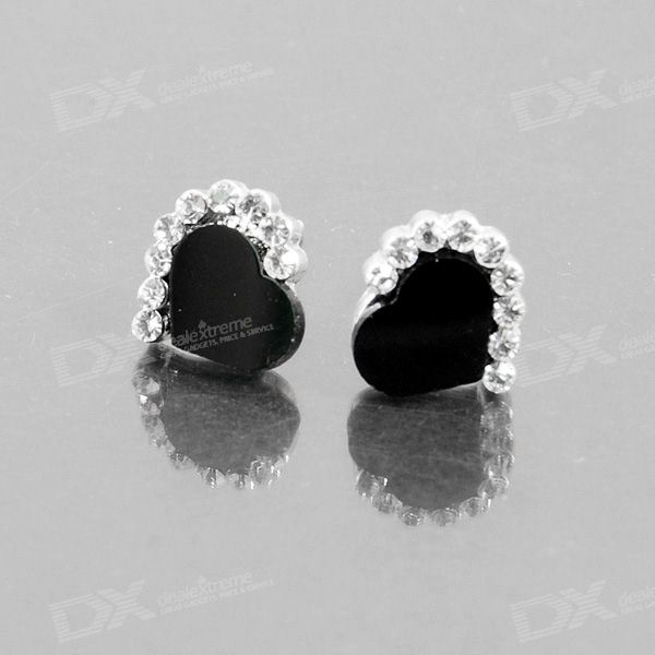Crystal Hearts 925 Silver Ear Pin Earrings (Pair)