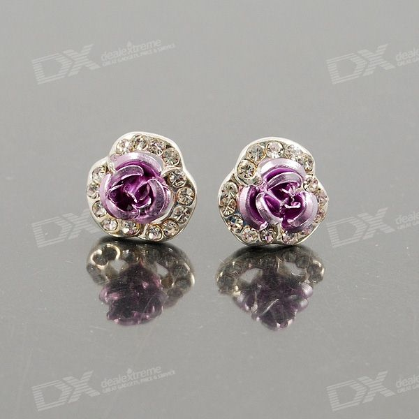 Crystal Purple Rose Plata 925 Pendientes Pin del oído (Par)