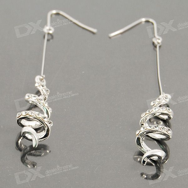 Classy Crystal Spirals 925 Silver Earrings (Pair)