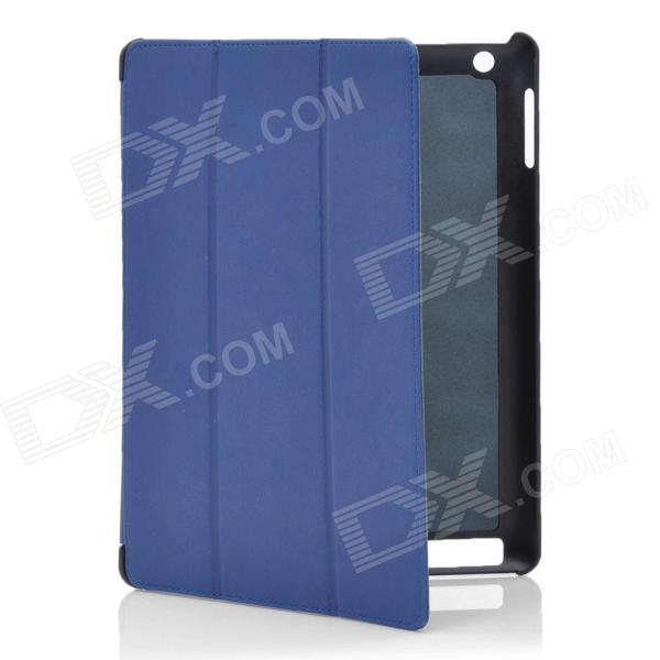 Stylish Protective PU Leather Case for Ipad 2 / the New Ipad - Blue vintage envelope style protective pu leather case for ipad 2 the new ipad blue