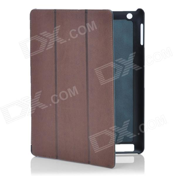 Stylish Protective PU Leather Case for Ipad 2 / the New Ipad - Coffee