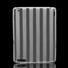Protective Stripe Pattern TPU Back Case for Ipad 2 / New Ipad - White