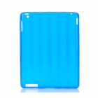 Protective Stripe Pattern TPU Back Case for iPad 2 / New iPad - Blue