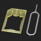 Micro SIM Card Tray Adapter Holder for Iphone 4 / 4S - Translucent Yellow