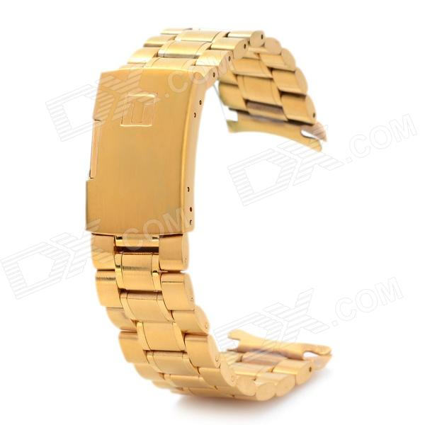 QG-22 Stylish Replacement Stainless Steel Wrist Watch Band - Golden