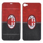 A.C. Milan Logo Pattern Protective Front + Back Sticker for iPhone 4 / 4S - Red + Black