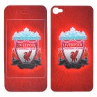 Liverpool F.C. Logo Pattern Protective Front + Back Sticker for iPhone 4 / 4S - Red