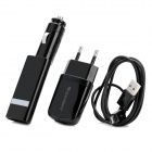 EU Plug Charging Adapter + Car Charger + USB Cable Kit for HTC / Samsung / Nokia - Black