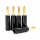 Gold Plated Loudspeaker Cable Banana Plugs Connectors - Black + Golden (5 PCS)