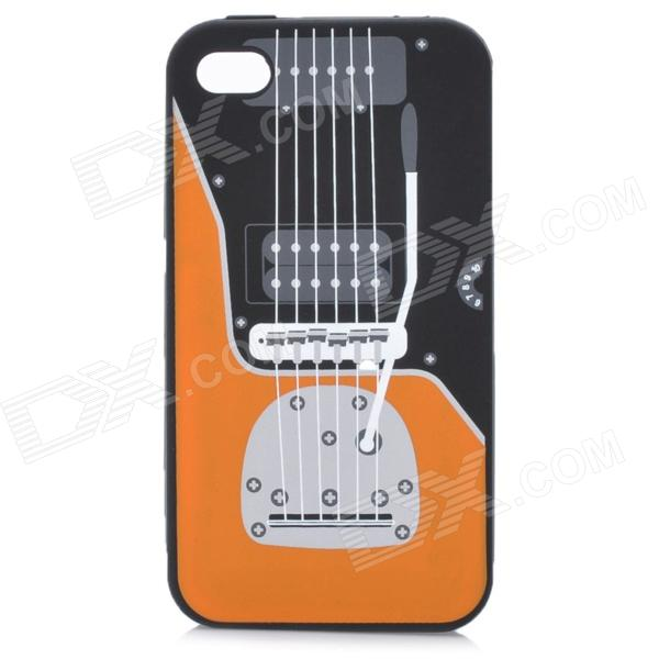 Protective Guitar Pattern Silicone Back Case for Iphone 4 / 4S - Black + Orange roar korea noble leather stand view window case for iphone 7 4 7 inch orange