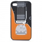 Protective Guitar Pattern Silicone Back Case for Iphone 4 / 4S - Black + Orange