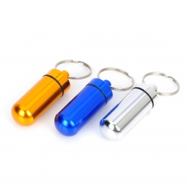 Aluminum Alloy Pill Storage Container Keychains - Multicolored (3PCS)