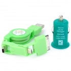 Mini Car Cigarette Lighter Charger w/ 3-in-1 USB Cable - Green + Dark Green (DC 12V)