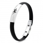 Chameleon Pattern Stainless Steel Anion Pressure Reduction Magnetic Bracelet Bangle - Black + Silver
