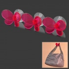Beautiful Butterfly Style Wall Hook Hanger Decoration w/ Suction Cup - Deep Pink (3 PCS)