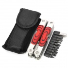14-in-1 Portable Folding Stainless Steel Multi Tool - Red + Silver
