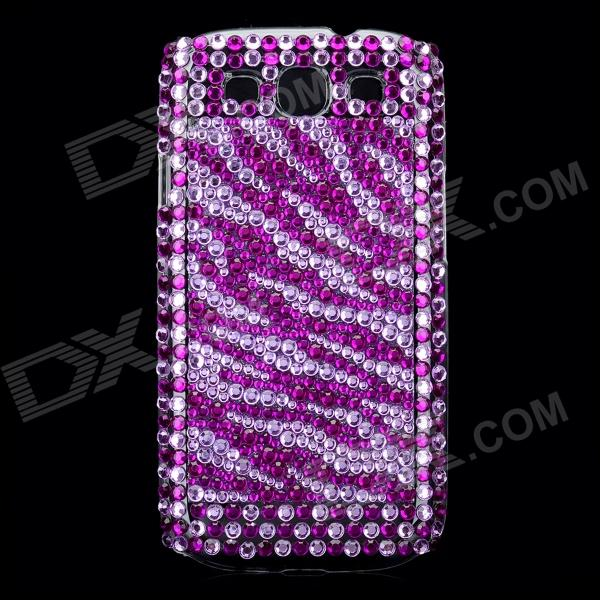 Crystal Protective Plastic Back Case for Samsung i9300 Galaxy S3 - Silver + Purple skull flower pattern protective plastic back case for samsung i9300 black yellow purple