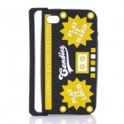 Radio Style Protective Silicone Back Case for iPhone 4 / iPhone 4S - Black + Yellow