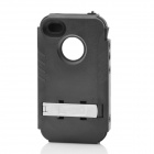 Stylish Protective Plastic Back Case w/ Silicone Cover + Stand for Iphone 4 / 4S - Black + Silver