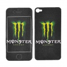 Monster Energy Pattern Protective Front + Back Sticker for iPhone 4 / 4S