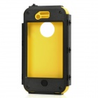 Fashion Full Protective Plastic + Silicone Case w/ Holder for Iphone 4 / 4S - Black + Yellow