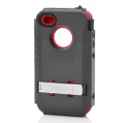 Stylish Protective Plastic Back Case w/ Silicone Cover + Stand for Iphone 4 / 4S - Black + Red