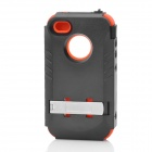 Stylish Protective Plastic Back Case w/ Silicone Cover + Stand for Iphone 4 / 4S - Black + Orange