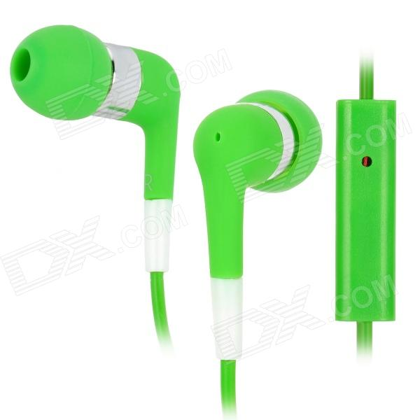Stylish In-Ear Earphone w/ Microphone for Iphone / Ipod / Ipad - Green + Silver (3.5mm Plug / 115cm) awei q7i stylish in ear earphone with microphone for iphone ipad more orange green